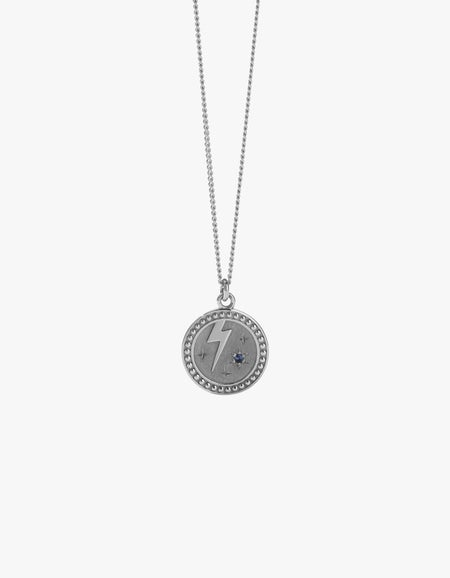 Amulet Strength Necklace - Sterling Silver/Blue Sapphire