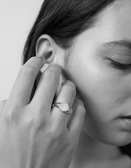 August Signet Ring Embossed - Gold Plated