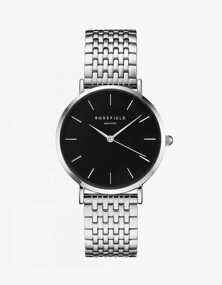 The Upper East Side Watch - Black/Silver Plated