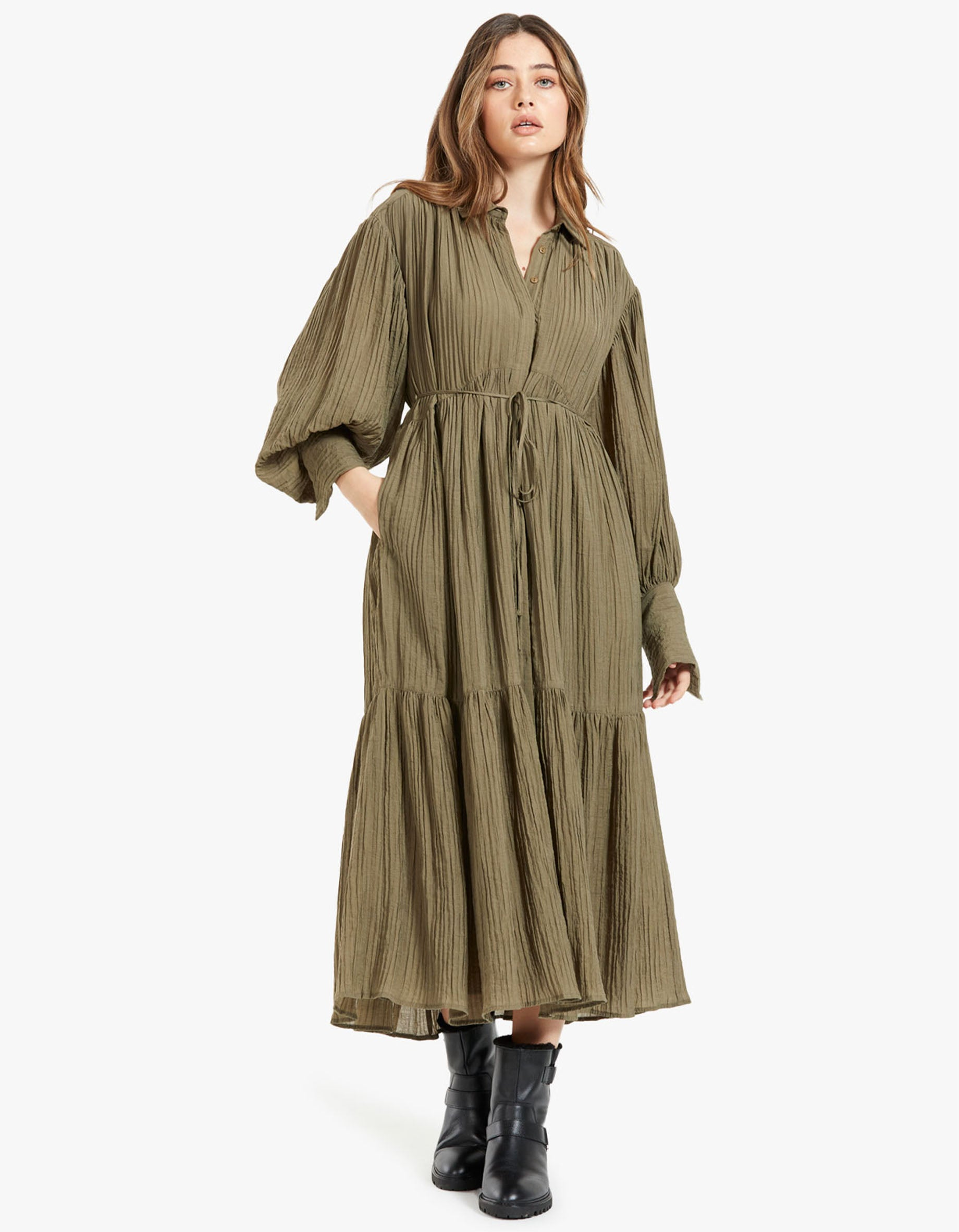 Mila Button Up Tiered Midi Dress - Olive