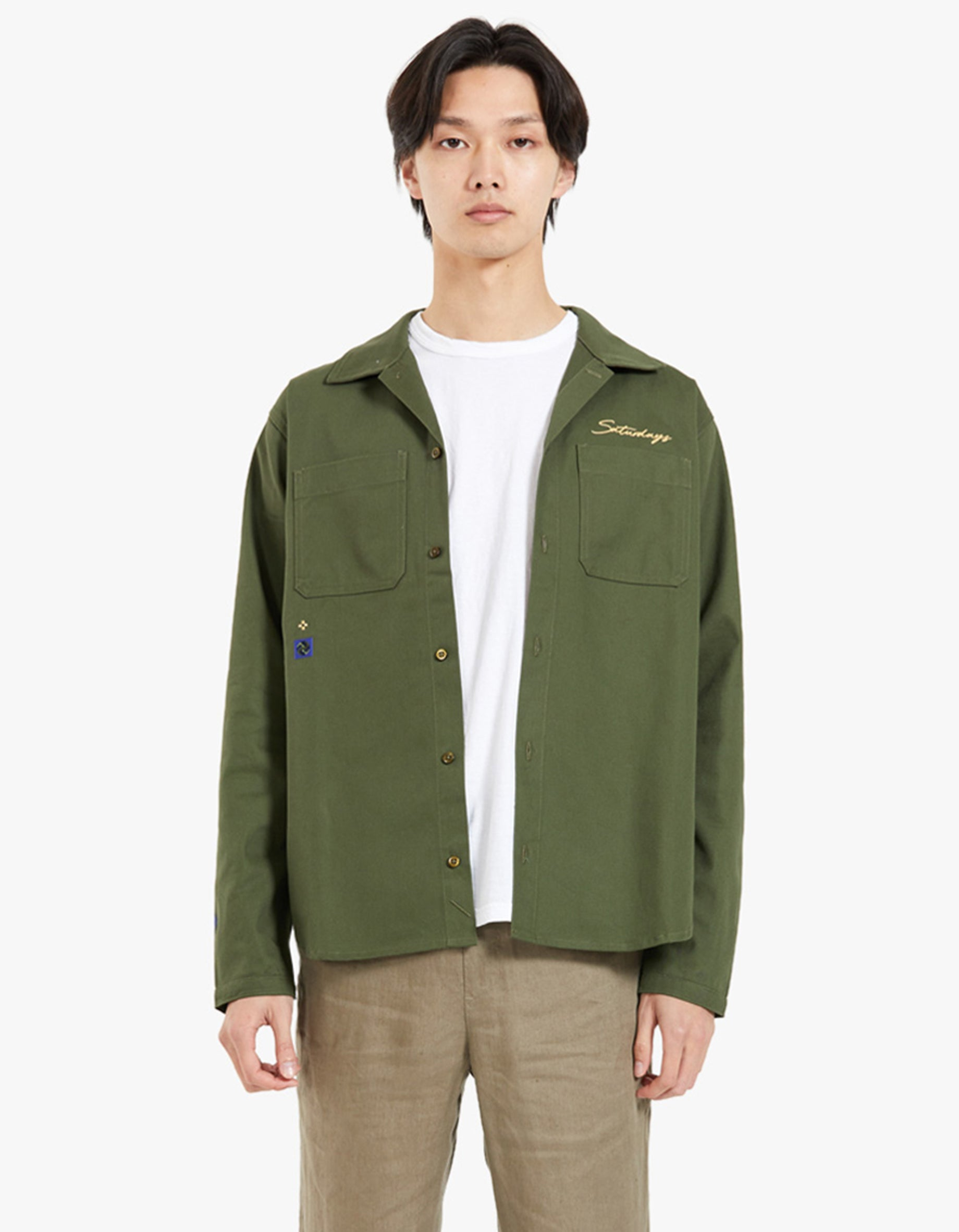 Rhodes Embroided Workshirt - Army Green