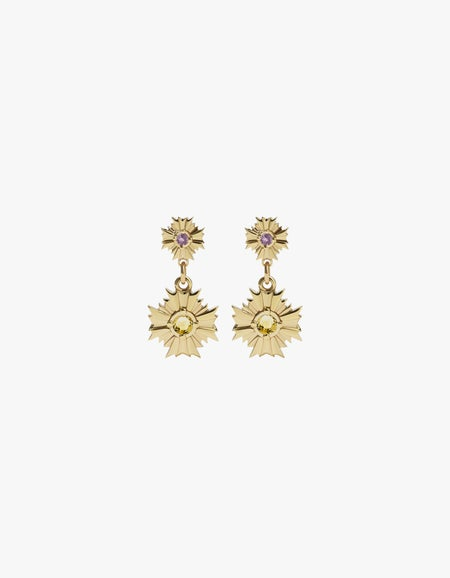 August Drop Earrings Small - Gold Plated/Pink Tourmaline/Citrine