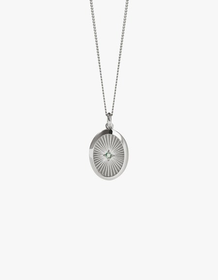 Inez Pendant Necklace - Sterling Silver/Green Sapphire