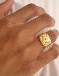 Starry Signet Ring - Gold Plated