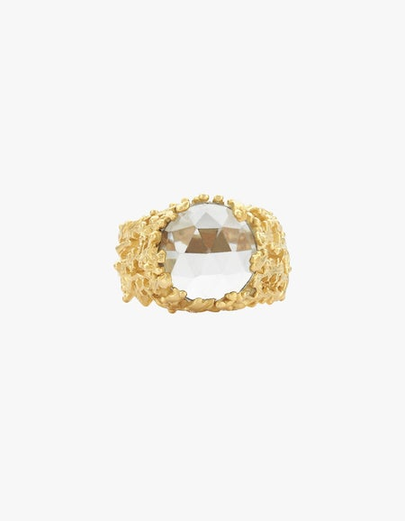 Seaweed Ring - 22k Gold Plated/Green Amethyst